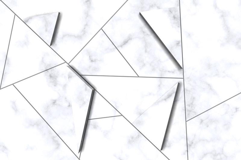 קיר שיש עם משולשי תלת מימד
