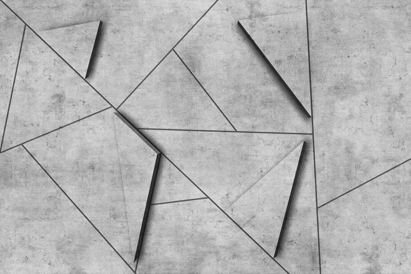 קיר בטון עם משולשי תלת מימד