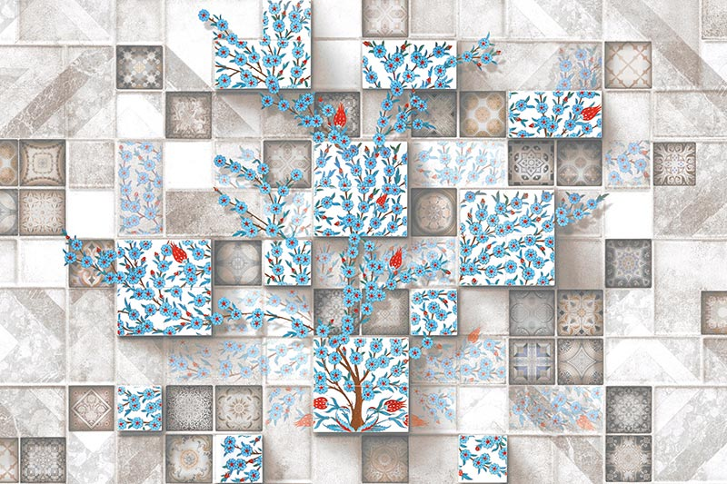 עץ פרחים כחולים על קיר אריחים