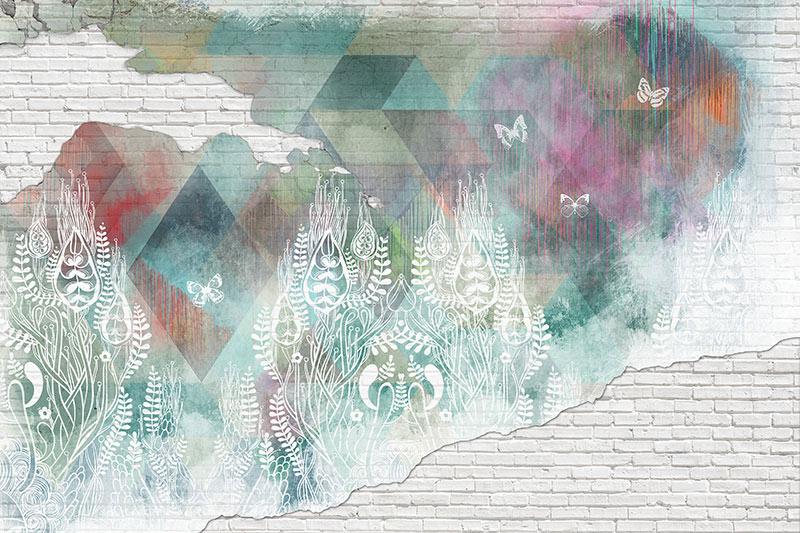 טפט קיר בריקים בעיצוב אבסטרקטי צבעוני ועדין