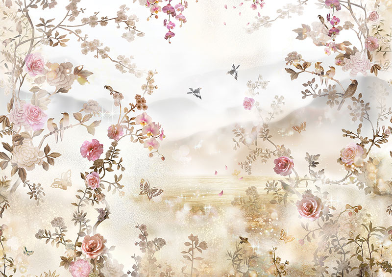 פרחים וציפורים בעיצוב עדין
