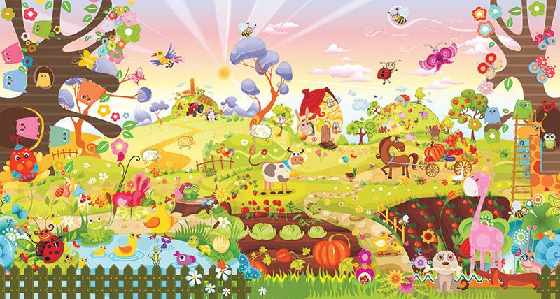טפט של חווה שמחה עם חיות שמחות