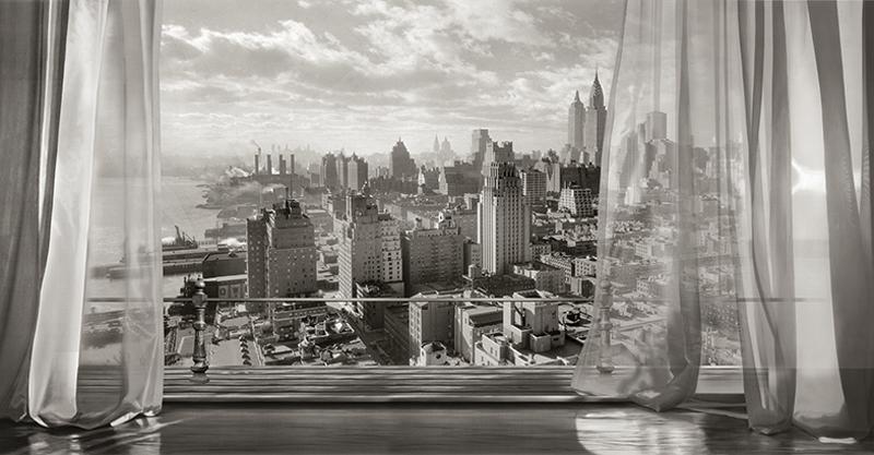טפט נוף של חלון פתוח אל העיר