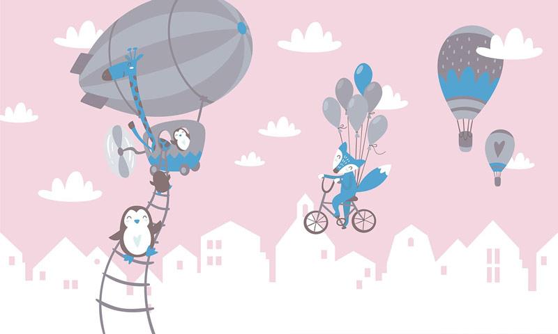 חיות וכדורים פורחים בכחול ורוד