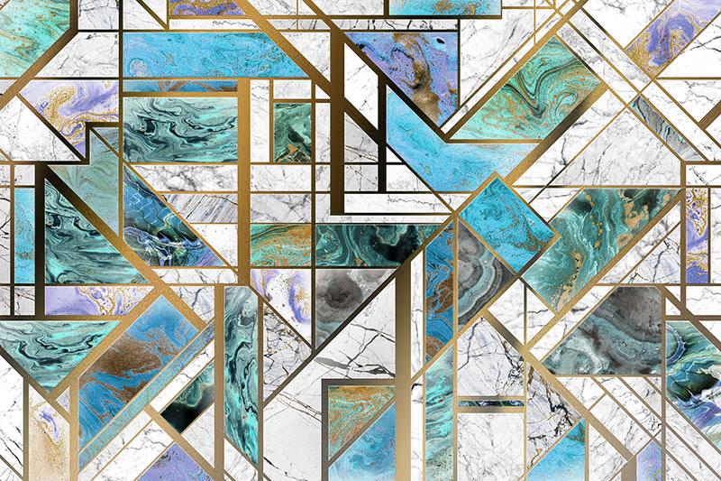 טפט שיש יפיפה צורות כחול ולבן