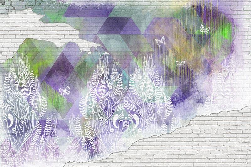 טפט קיר בריקים בעיצוב אבסטרקטי בגוון סגול