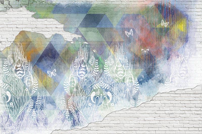 טפט קיר בריקים בעיצוב אבסטרקטי בגוון עדין