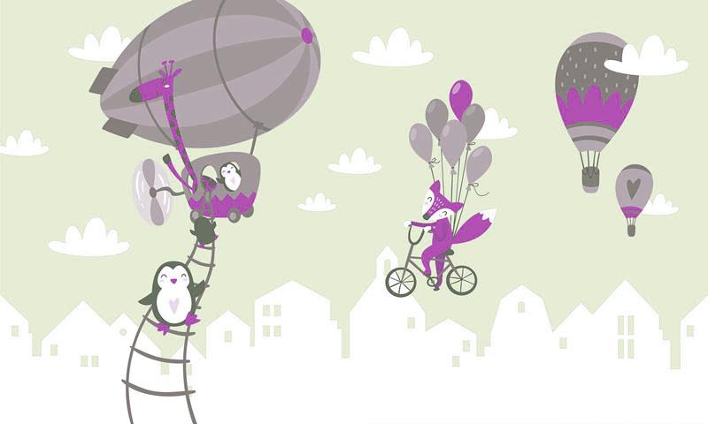 חיות וכדורים פורחים בסגול