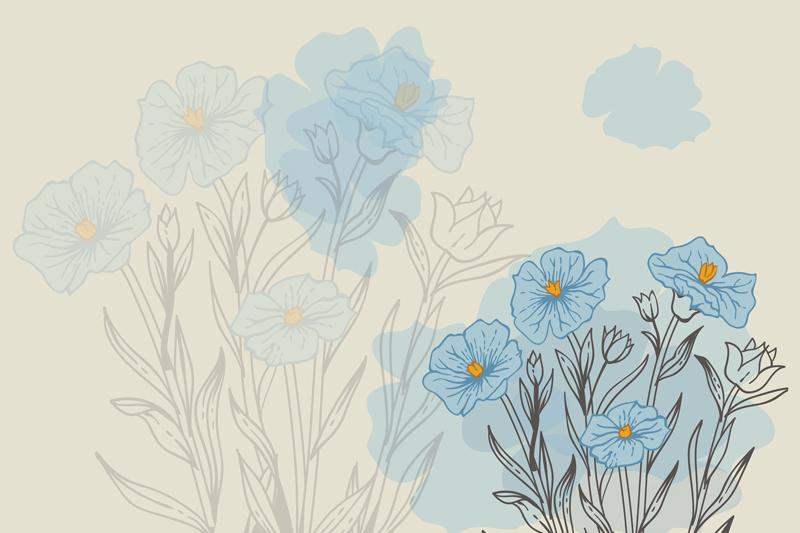 עיצוב אבסטרקטי פרחים כחולים על רקע עדין