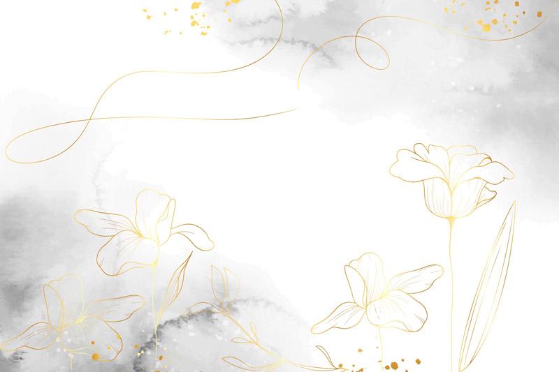 פרחים זהובים על רקע אבסטרקטי