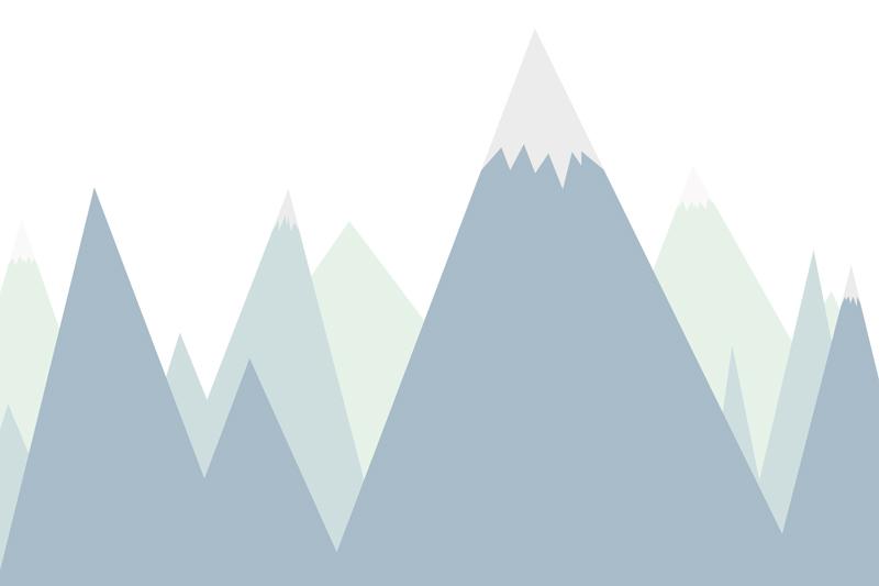 טפט הרים מחודדים לחדרי ילדים בגוונים ירוק וכחול