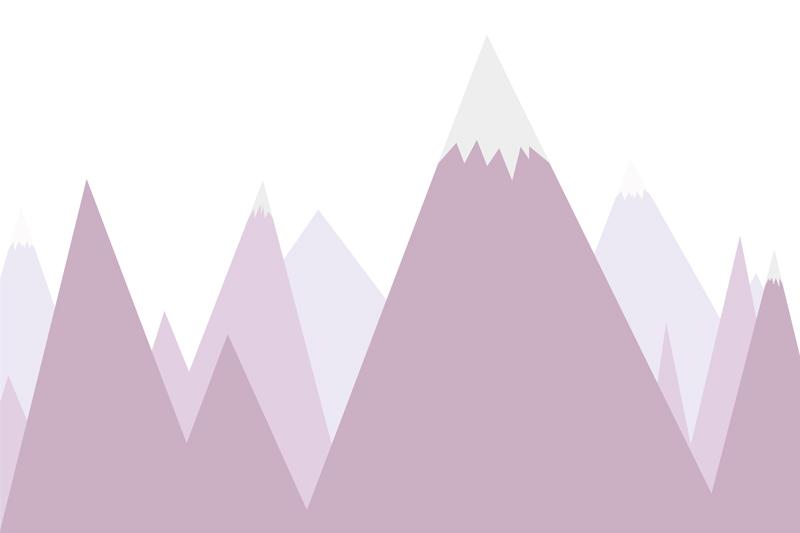 טפט הרים מחודדים לחדרי ילדים בגוון סגול