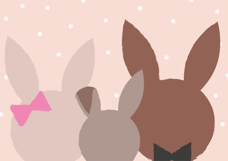 משפחת ארנבים בגוונים חומים