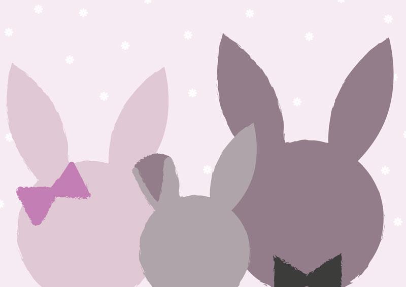 משפחת ארנבים בגוונים סגולים