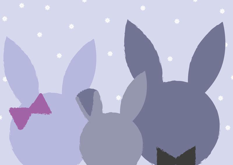 משפחת ארנבים בגוונים כחולים