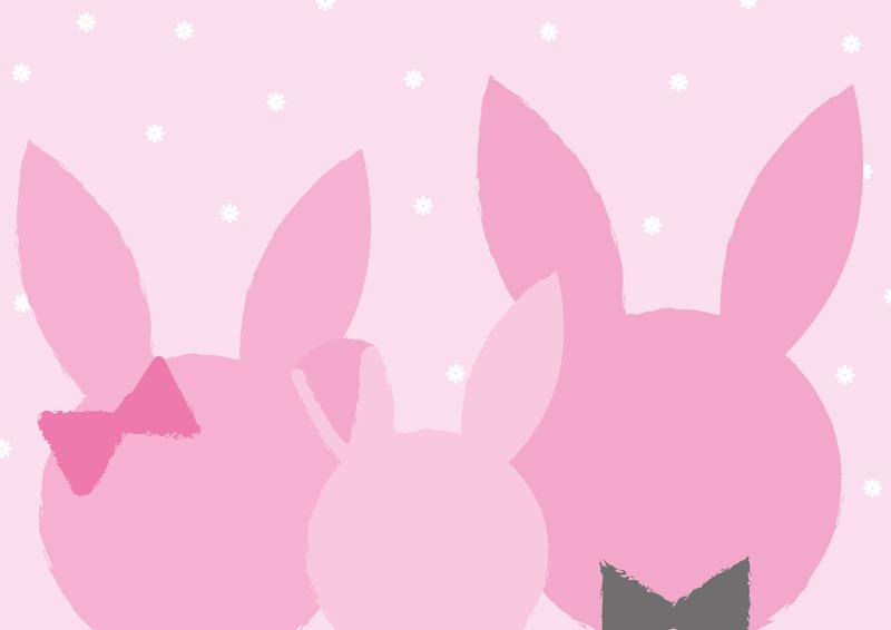 משפחת ארנבים בגוונים ורודים