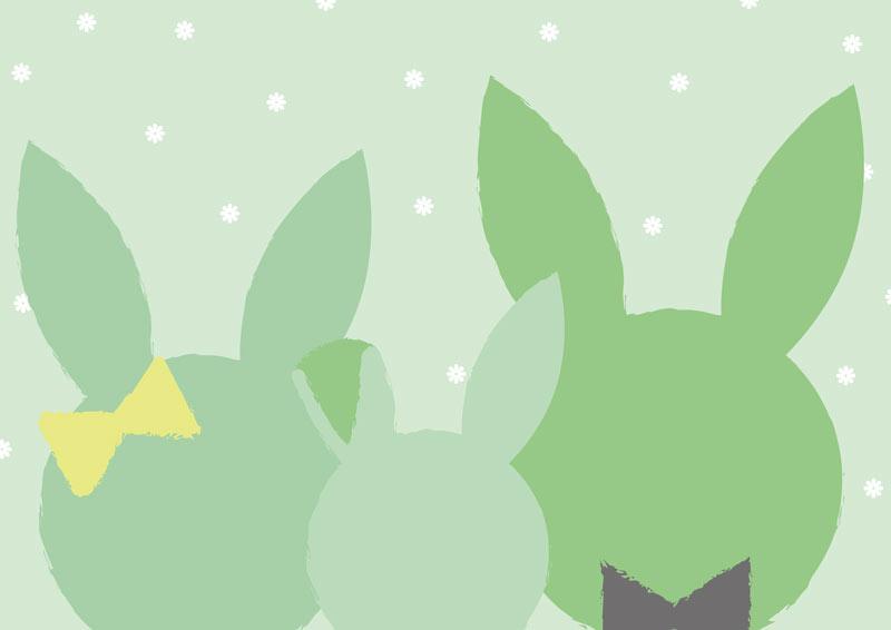 משפחת ארנבים בגוונים ירוקים