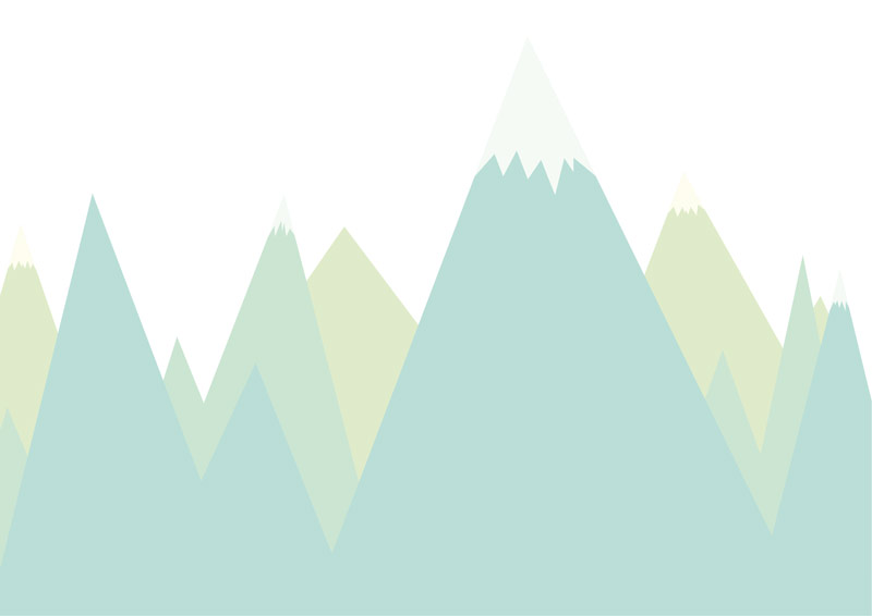 טפט הרים מחודדים לחדרי ילדים בגוון טורקיז