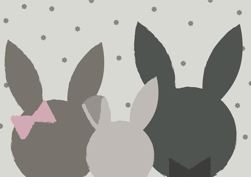 משפחת ארנבים בגוונים כהים