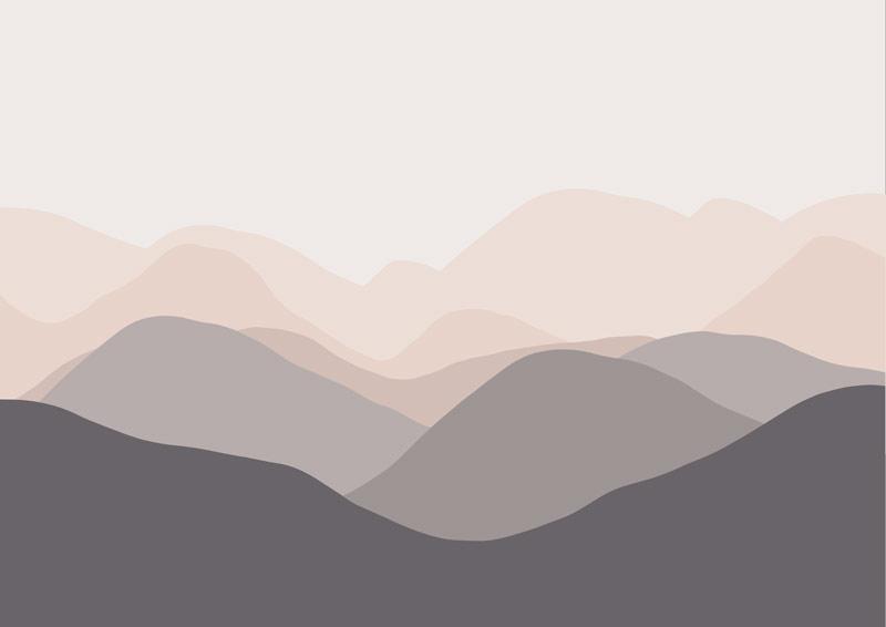 הרים מתרחקים גוון ורוד