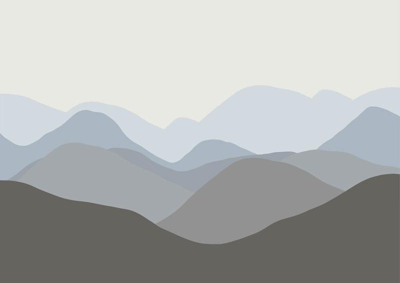הרים מתרחקים גוון כחול