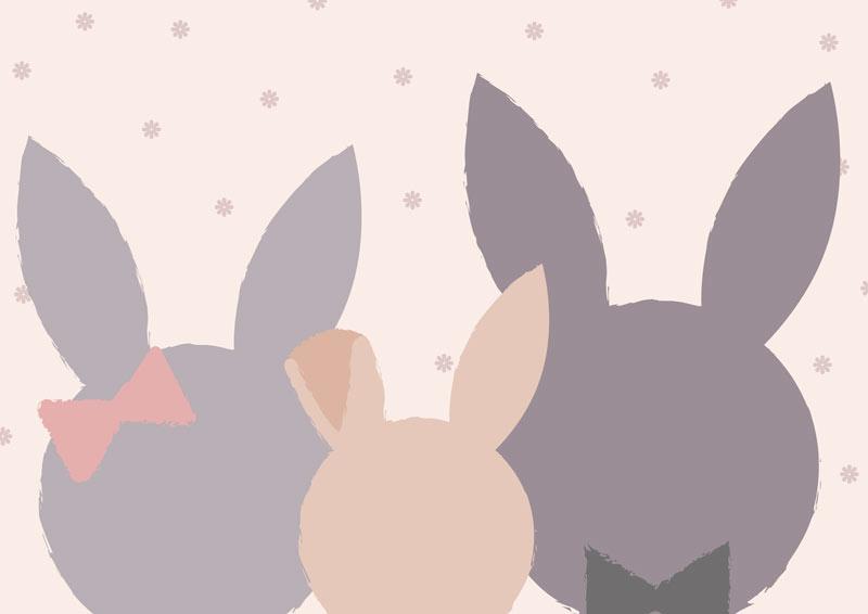 משפחת ארנבים בגווני אפור וורוד