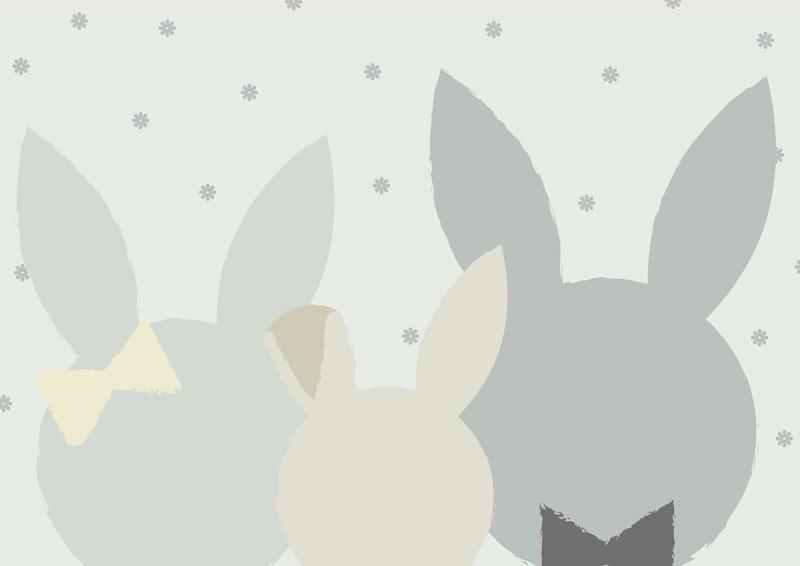 משפחת ארנבים בגווני אפור וירוק