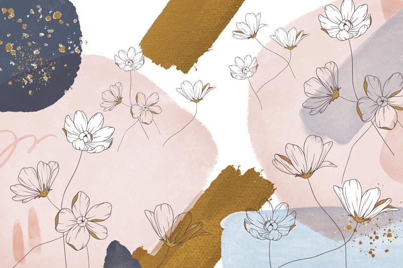 טפט אבסטרקטי של פרחים עדינים בכתמים