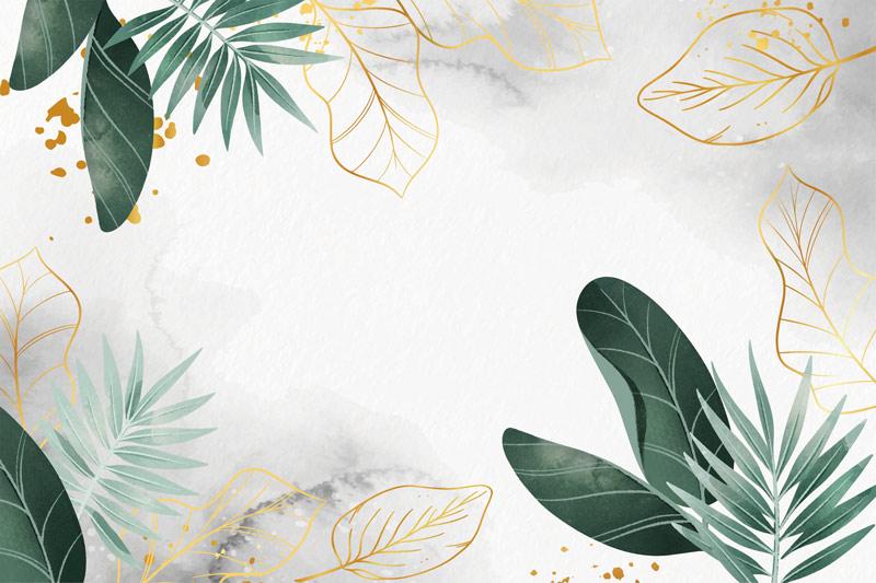 עיצוב של עלים זהובים וירוקים