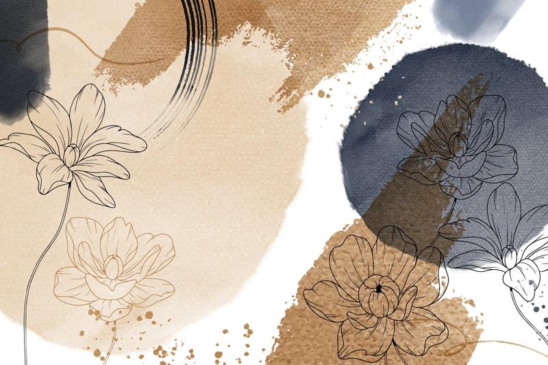 עיצוב אבסטרקטי פרחים וכתמים