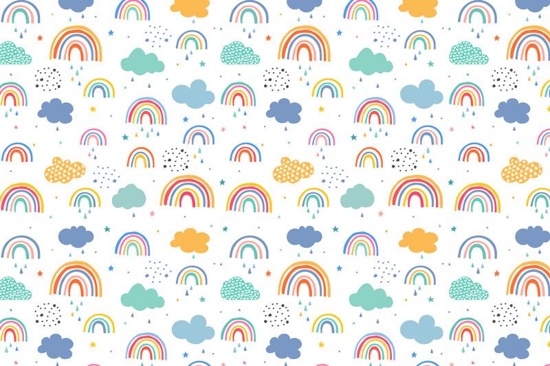 טפט לחדר תינוקות של עננים וקשתות