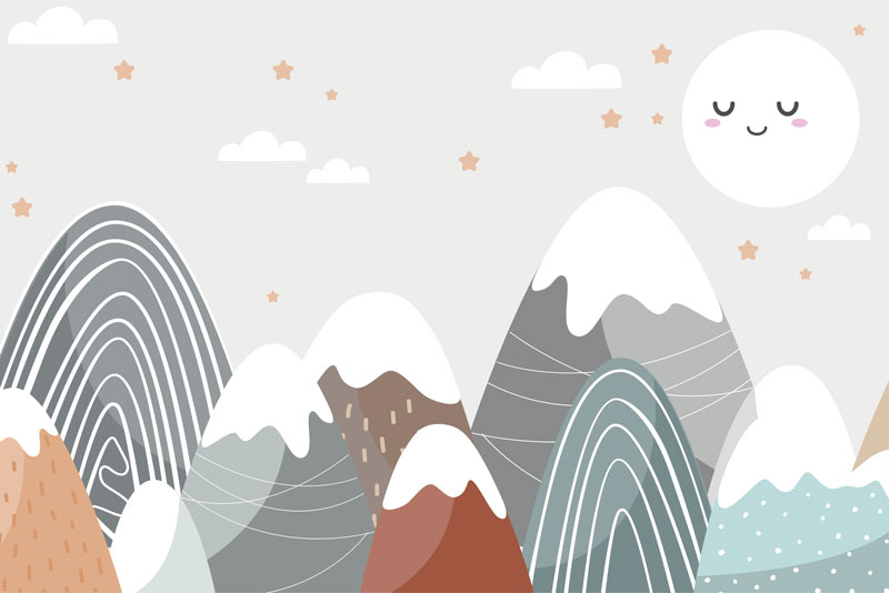 טפט לילדים של ירח שמח והרים בגוונים עדינים