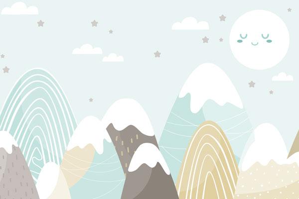 טפט לילדים של ירח שמח והרים בצבעי תכלת