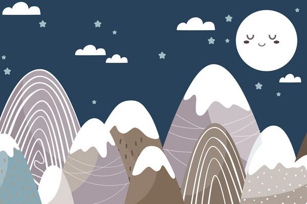 טפט לילדים של ירח שמח והרים בצבעים כהים