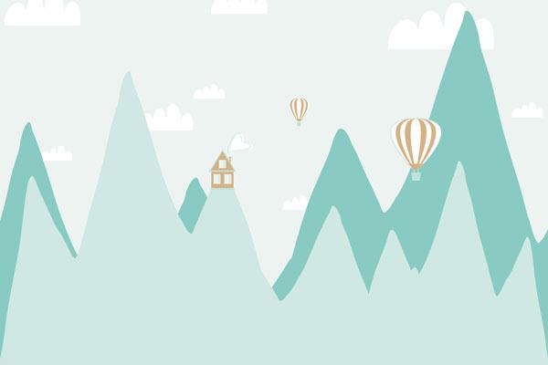 בית על הרים גבוהים בגווני טורקיז כתום