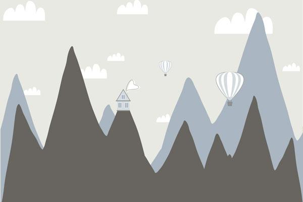 בית על הרים גבוהים בגווני כחול אפור