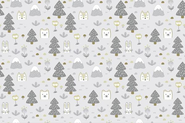 טפט לילדים של חיות ועצים בגווני אפור צהוב