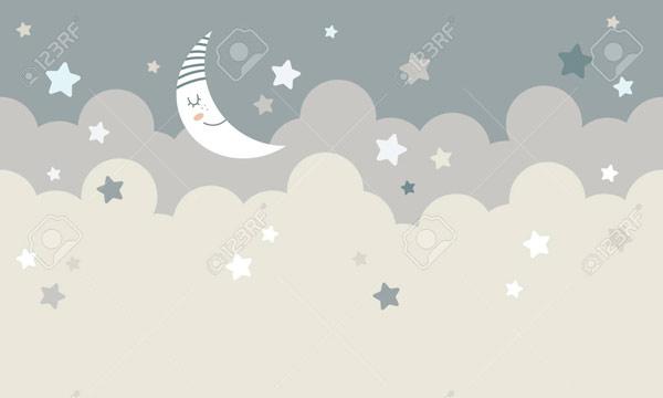 טפט לילדים ירח מנומנם