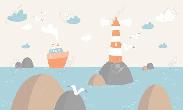 טפט מעוצב לילדים אוניה ומגדלור