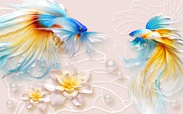 דגים שוחים ברקע אבסטרקטי