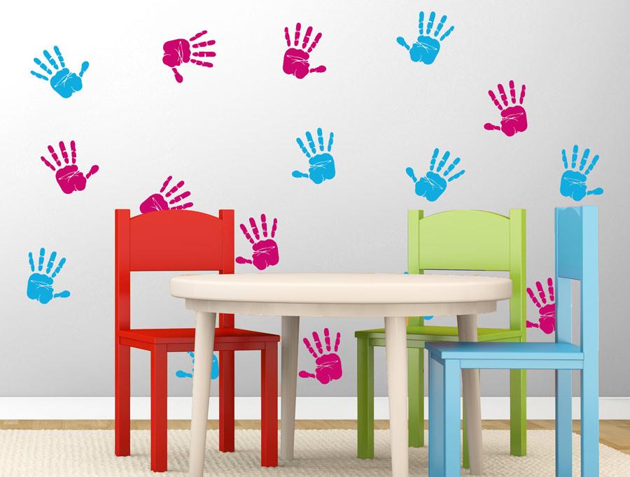 סט מדבקות - כפות ידיים צבעוניות