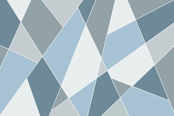 טפט - צורות חתוכות בגווני כחול
