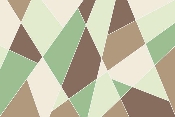טפט - צורות חתוכות בגווני חום ירוק