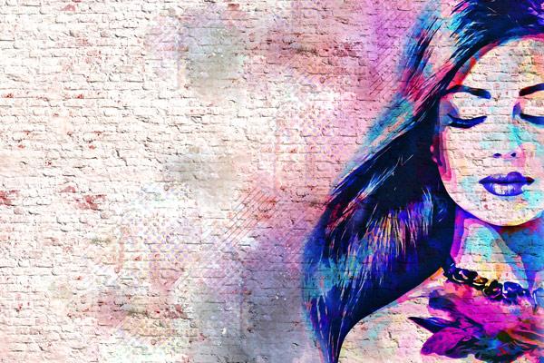 טפט - אישה צבעונית מאויירת