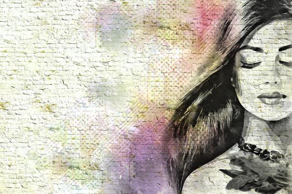 טפט - אישה צבעונית מאויירת בגווני קשת צבעונית
