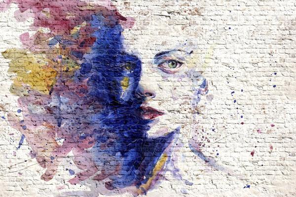 טפט - איור אישה על קיר בריקים