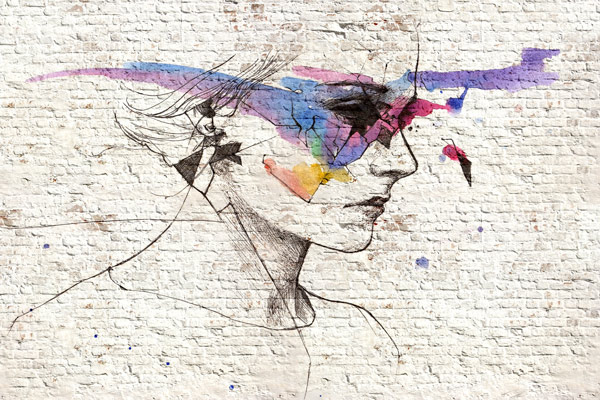 טפט - איור אישה ועיצוב צבעוני