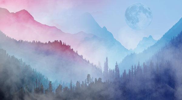 טפט - נוף בצבעי מים