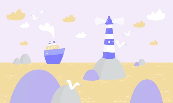 טפט - מגדלור כחול בים
