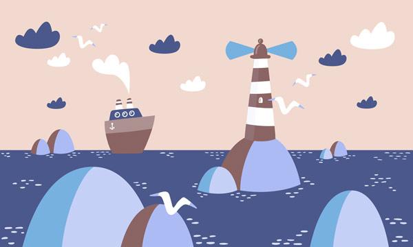 טפט - ים ואוניה מאויירים כחול כתום